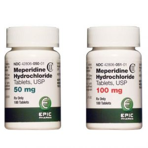 Mepedridine Hydrochloride Tablets USP 50mg and 100mg bottle
